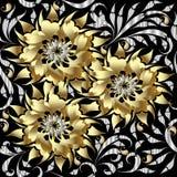El oro 3d florece el modelo inconsútil Fondo floral del vector 3D W Foto de archivo