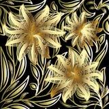 El oro 3d florece el modelo inconsútil fondo floral negro del vector Imagen de archivo