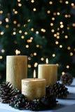 El oro de la Navidad mira al trasluz luces Fotografía de archivo libre de regalías
