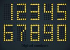 El oro de lujo punteó números en el panel negro, pantalla, timeboard Imagen de archivo