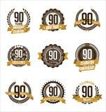 El oro del aniversario Badges los 90.os años que celebran Foto de archivo libre de regalías