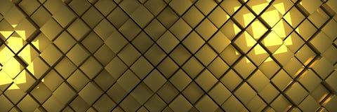 El oro desplazado cubica el fondo de la bandera Ilustración del Vector