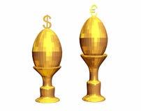 El oro dos (en) eggs en soporte. Imagenes de archivo