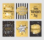 El oro feliz del día de tarjetas del día de San Valentín y las tarjetas de felicitación negras vector el ejemplo libre illustration