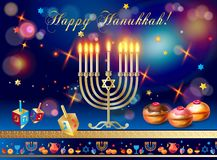 El oro feliz Menorah de Jánuca, coció los anillos de espuma con el esmalte del arándano y del chocolate del confeti, dreidel de m ilustración del vector
