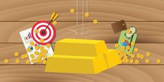 El oro invierte la inversión con la pila de la barra de oro con símbolo del negocio como fondo Imágenes de archivo libres de regalías