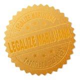 El oro LEGALIZA el sello de la insignia de la MARIJUANA ilustración del vector