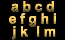 El oro letra a - m Imagenes de archivo