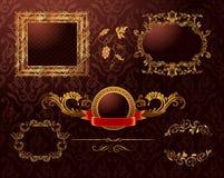 El oro real de la vendimia enmarca el ornamento. Elemento del vector Imagenes de archivo