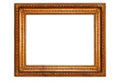 El oro rectangular plateó el marco de madera Fotografía de archivo