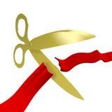 El oro Scissors la cinta del rojo del corte Foto de archivo libre de regalías