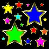 El oro Stars la ilustración abstracta del fondo Fotografía de archivo