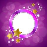 El oro violeta del rosa abstracto del fondo protagoniza el ejemplo del marco del círculo Imagen de archivo