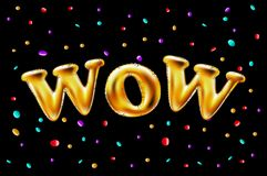 El oro wow hincha el fondo para las banderas del web, jefe, tienda Logotipo, logotipo, muestra, símbolo Globo de oro del texto de Imagen de archivo