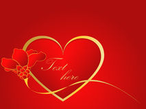 El oro y el corazón rojo del amor con subieron Imagen de archivo libre de regalías