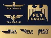 El oro y el logotipo azul marino de Eagle vector diseño determinado stock de ilustración