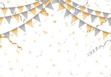 El oro y la plata van de fiesta el fondo con el tablero blanco Fotos de archivo