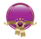 El oro y púrpuras vacian la escritura de la etiqueta/el emblema Fotografía de archivo libre de regalías