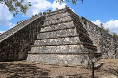El Osario, Chichen Itza. El Osario Spanish for `the Ossuary`, also known as the Bonehouse or the Tumba del Gran Sacerdote. It is a ruined Maya pyramid in the Stock Images