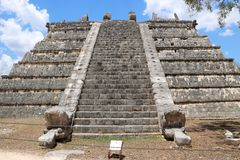 El Osario, Chichen Itza. El Osario Spanish for `the Ossuary`, also known as the Bonehouse or the Tumba del Gran Sacerdote. It is a ruined Maya pyramid in the Royalty Free Stock Photography