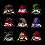 El oso, caballo, serpiente, espolón, zorro, piraña, dinosaurio, cabeza del pulpo aisló concepto del logotipo del vector Imagen de archivo