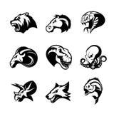 El oso, caballo, serpiente, espolón, zorro, piraña, dinosaurio, cabeza del pulpo aisló concepto del logotipo del vector ilustración del vector