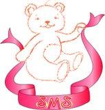 El oso con una cinta de la enhorabuena stock de ilustración