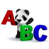 el oso de panda 3d aprende el alfabeto Foto de archivo libre de regalías