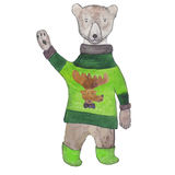 El oso de peluche del saludo en un verde hizo punto el suéter de Terry con un ciervo Fotografía de archivo