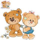 El oso de peluche del vector oculta detrás de la parte posterior un ramo de flores y no se atreve a darlas a su novia stock de ilustración