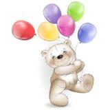 El oso de peluche divertido viene con los globos coloreados Fotos de archivo