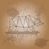 El oso de triángulos resume movimientos en fondo marrón y la acuarela salpica Fotos de archivo libres de regalías