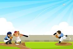 El oso del béisbol golpea la bola Imágenes de archivo libres de regalías