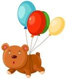 El oso del peluche vuela con el globo Imagen de archivo libre de regalías