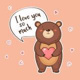 El oso divertido lindo con el corazón y el discurso burbujean con cita te amo tanto Imágenes de archivo libres de regalías