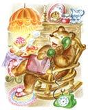 El oso habla en el teléfono. ilustración del vector