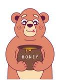 El oso hambriento sostiene un pote de miel y se lame libre illustration