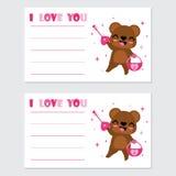 El oso lindo consigue la llave del amor para el ejemplo de la historieta del candado para el diseño de tarjeta feliz de la tarjet Imagenes de archivo