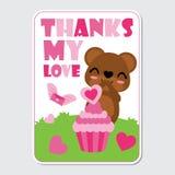 El oso lindo es feliz consigue amor rosado de la magdalena en el ejemplo de la historieta del jardín para el diseño de tarjeta fe Fotografía de archivo