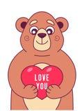 El oso lindo mantiene el coraz?n sus patas ilustración del vector
