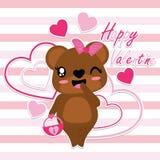 El oso lindo trae el ejemplo de la historieta del vector del bolso del amor Imagen de archivo libre de regalías
