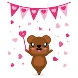 El oso lindo trae su ejemplo mágico de la historieta del vector del amor de la vara para el diseño de tarjeta feliz de la tarjeta Foto de archivo libre de regalías