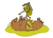 El oso que hace una emboscada en cazador Imágenes de archivo libres de regalías