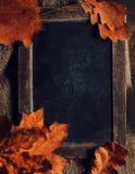 El otoño, caída se va en la pizarra negra en blanco vacía del vintage con el copyspace Autumn Still Life Background acogedor Imagen de archivo