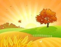 El otoño coloca puesta del sol stock de ilustración