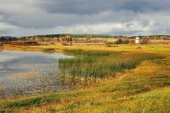 El otoño coloreó paisaje del otoño del paisaje del valle en tonos de la revista ilustrada del vintage Foto de archivo libre de regalías