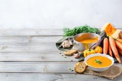 El otoño de la caída asó la sopa anaranjada de la zanahoria de la calabaza con ajo Imagen de archivo libre de regalías