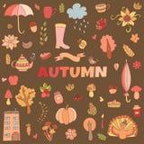 El otoño del vector garabatea la tarjeta Drenaje de la mano thanksgiving Fotografía de archivo