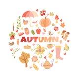 El otoño del vector garabatea la tarjeta Drenaje de la mano thanksgiving Fotos de archivo