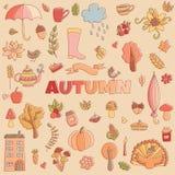 El otoño del vector garabatea la tarjeta Drenaje de la mano thanksgiving Imagen de archivo